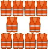 10 Warnwesten Sicherheitsweste Set Warnweste ORANGE | Atmungsaktiv |360 Grad Reflektierende Schutz Weste Prowiste®