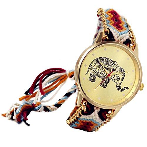 Lancardo Reloj Analógico de Cuarzo Dial Dorado con Elefante Tailandés Marcadores de Puntos Pulsera Electrónica de Moda Correa Trenzada Colorida Ajustable Casual para Mujer Dama