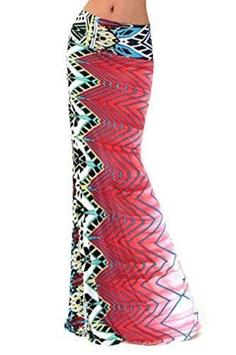 Donna Boemia Gonna Lunga a Vita Alta Spiaggia Gonne Maxi Motivo Stampato #94011 Come Immagine