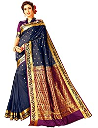 Craftsvilla Women's Silk Butta Work Blue Saree with Blouse Piece