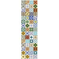 Huella Deco h1002-ru-m Loza Alfombra Runner Mat Floor, vinilo, 50x 180cm