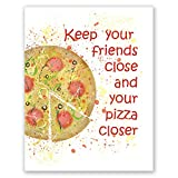 Pizza Poster - Aquarell inspirierter Wand-Kunstdruck,