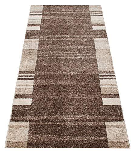 Tapiso Rasta Teppich Läufer Meterware Kurzflor Modern Streifen Meliert Design Braun Beige Flur Brücke Wohnzimmer Küche ÖKOTEX 80 x 300 cm -
