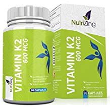 NutriZing Vitamina K2. Alta resistencia 600 mcg. 90 Vegeterian Cápsulas. Promueve el mantenimiento