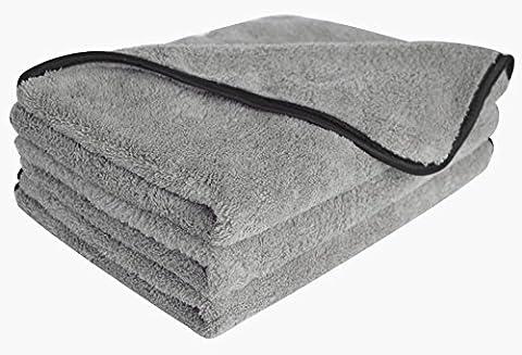 Plush Microfibre Car Cleaning Cloths Waxing Polishing Towels 380gsm (3 Pack) (40cmx60cm, greyx3)