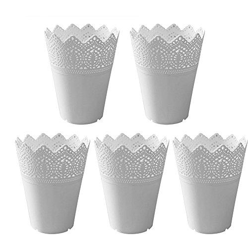 Leisial 5pcs Jarrón de Plástico Macetas para Flores Lace Flor Planta Pot Jardinero Hollow Flor...