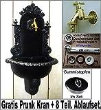 Wandbrunnen Graf von Gerlitzen Alu Bassena Wand Brunnen Schwarz Kran Ablauf 201JB