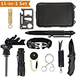 Außen Survival Kit 12 in 1 Set, Notfall Self Help Sport Camping Wandern Werkzeuge Box Set mit Klappmesser, Feuerstarter, Kompass, Taschenlampe, Whistle, Tactical Pen, Wasserdichte Survival Kit Box