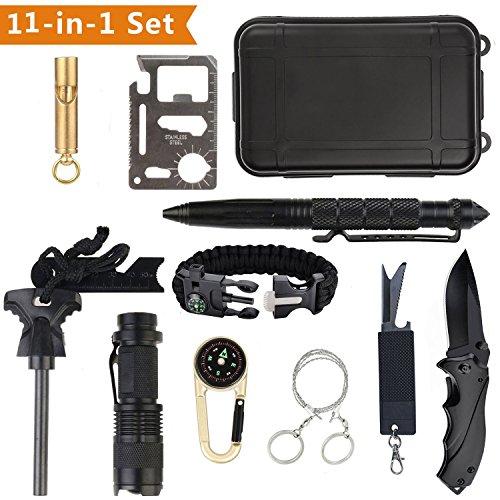 Survival Kit 11 in 1 Außen Survival Set Notfall Selbsthilfe Werkzeuge Camping Wandern Fahrzeug Box Set mit Klappmesser, Feuerstarter, Kompass, Taschenlampe, Whistle, Tactical Pen,Survival Armbändern (Schublade-tool-box)