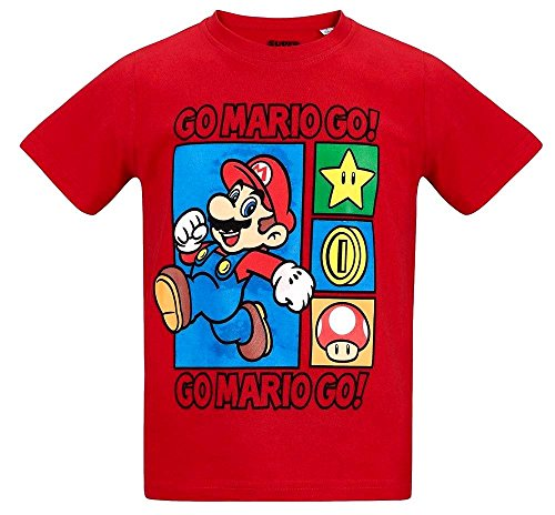 Nintendo Super Mario Kollektion 2018 T-Shirt 104 110 116 122 128 134 140 Shirt Kurz Jungen (Rot, 104)
