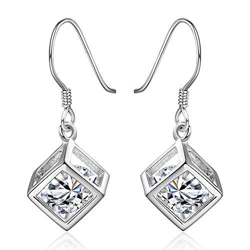 Damen Ohrringe hängend Doppel Kristall Würfel Ohrring in Silber Ohrhänger für Damen und Mädchen (Würfel Schmuck)