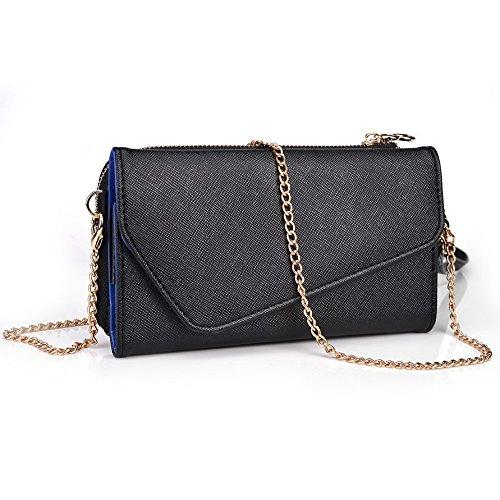 Kroo d'embrayage portefeuille avec dragonne et sangle bandoulière pour Samsung Galaxy Alpha Multicolore - Noir/gris Multicolore - Black and Blue