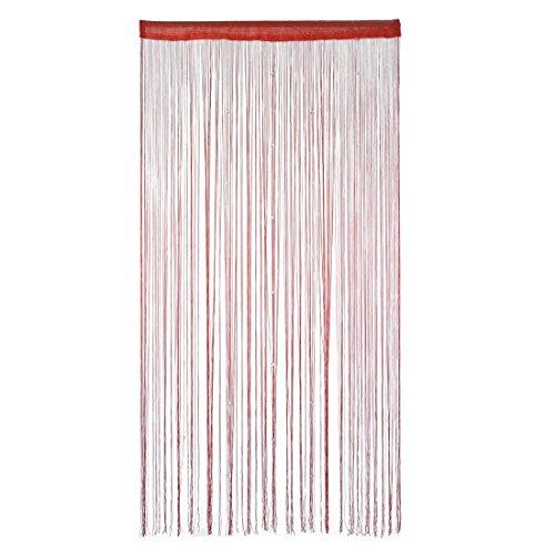 candora® Polyester Tür Fenster String Bead Vorhang Quaste 100x 200cm mehrere Farbe rot (Mädchen Schlafzimmer Schabracken)