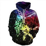 Unisex Paare Einhorn Kapuzenpulli 3D gedruckt Sweat Shirt Langarm Hoodie Taschen top