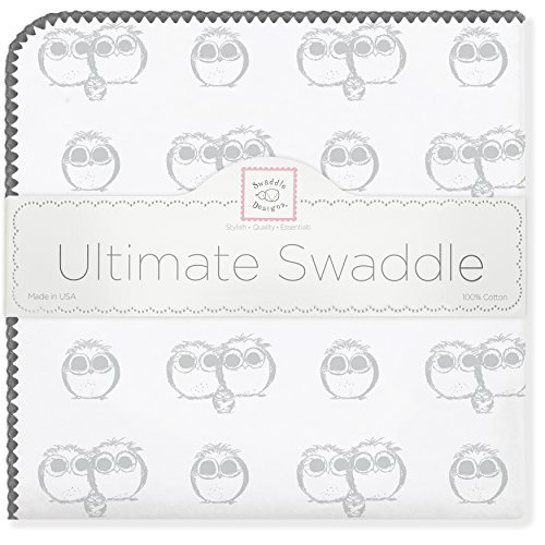 SwaddleDesigns Ultimate Receiving Blanket, Sterling Mama, Papa and Baby Owls