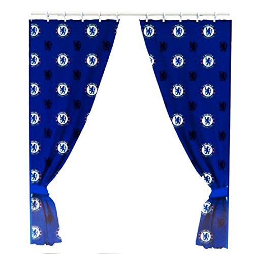 "Chelsea FC 66"" x 72"" Drop Polycotton Curtains Ready Made"