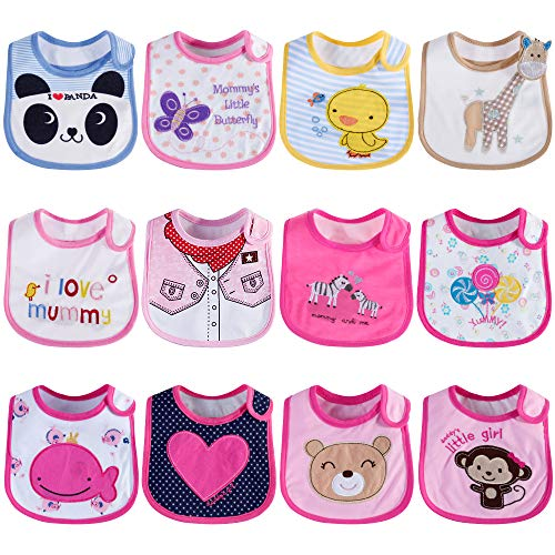 Lictin 12pcs baberos de bebé para niñas Baberos impermeables de algodón ajuste bebé baberos de bebé Impermeable 3-24 meses