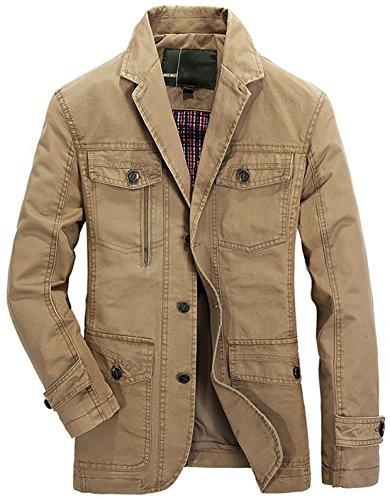 Chouyatou Herren Blazer mit gekerbtem Kragen, mit 3 Knöpfen, leicht, Herren, Khaki, Large - Baumwolle Ein-knopf-blazer