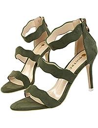 z&dw Moda dulce verano Slim señoras hueco zapatos con tacones altos terciopelo ondas de cara con una palabra con sandalias