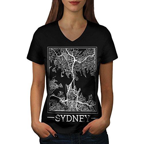 Australien Sydney Karte Groß Stadt Damen M V-Ausschnitt T-shirt | (Sydney Kostüme Billig)