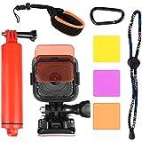 Floating Wrist Mount + Diving Lens Filter Kit For GoPro Hero 4 Session Hero 5 Session Hero Session Camera By HOLACA