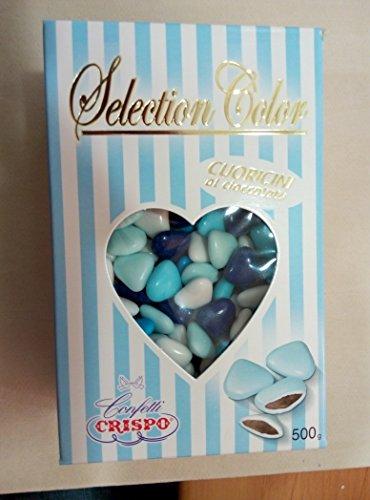 Confetti cuoricini al cioccolato selection color celeste 500g confetti crispo