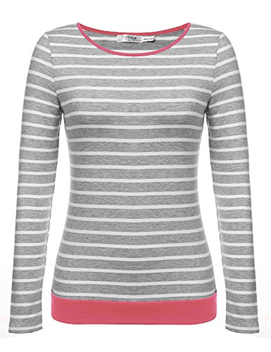 Meaneor Damen Rundhals Gestreift Stretch Basic T-Shirt Oberteile Langarmshirt Loose Bluse Tops (& Co Top Stil T-shirt)