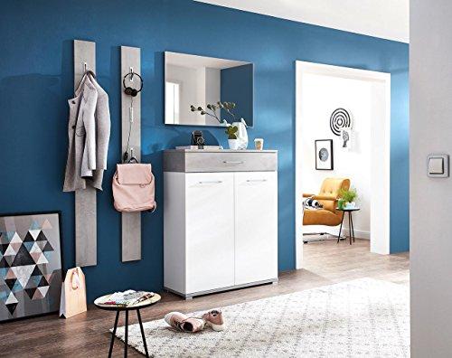 lifestyle4living Garderoben-Set, Garderobe, Flurgarderobe, Diele, Schuhschrank, Garderobenschrank, Paneel, Hutablage, Schrank, Spiegel, weiß, Beton-Optik, 4-TLG.