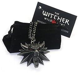 The Witcher 3Hunt Collier avec pendentif loup aux yeux rouges 3D pour homme