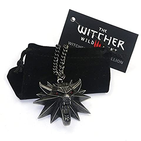 The Witcher 3 Hunt Collier Yeux Rouge 3d Loup Pendentif pour homme