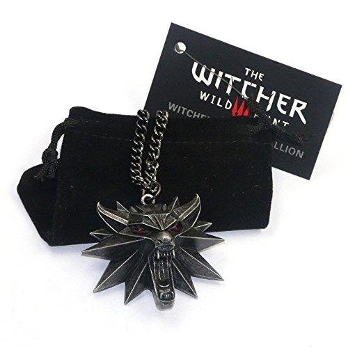 Colgante de The Witcher 3 Hunt, pendiente de lobo con ojos rojos 3D para hombre