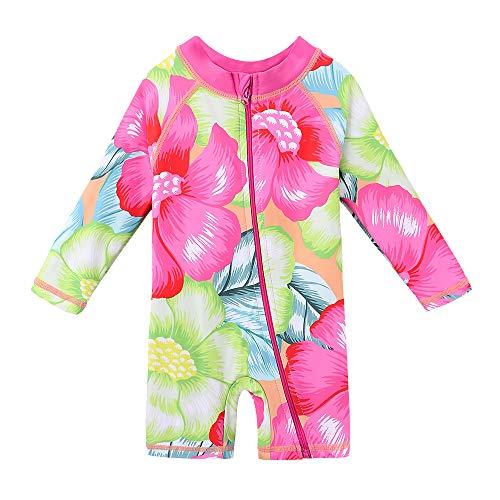HUAANIUE Kinder Badeanzug Ärmeln Bademode Badekleidung für Schwimmen Schwimmsportbekleidung UPF 50+ UV-Schutz 0-6 Jahre -