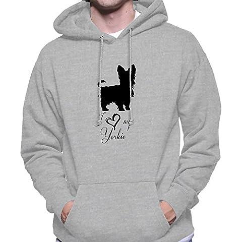 Hoodie da uomo con I Love My Yorkie Dog Breed Illustration stampa.