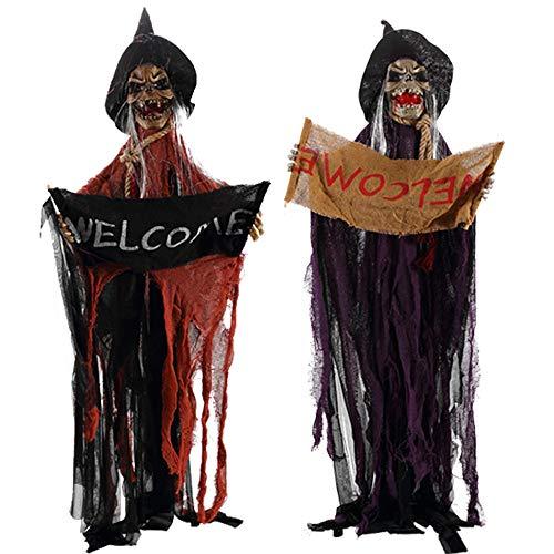 NBCDY 3 stücke Halloween Prop, Horror Elektrische Stimme Hängen Schädel Skeleton Ghost Willkommensschild, für Haunted House Escape, Geschenke, Kostümpartys, Karneval, Weihnachten, Ostern (Baum Geist Kostüm)