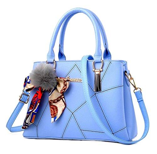 Baymate Ms. einfache und elegante Handtasche Schultertasche Messenger Bag Licht Blau