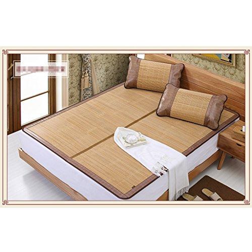 Liuyu · Tapis en bambou épais mat Tapis en bambou double face Tapis pliant 1,2 pièces 1,8 m Lit 1,5 m Dortoir carbonisé Non-lisse Tapis épais lisse sans bavures (avec deux taies d'oreiller en bambou)
