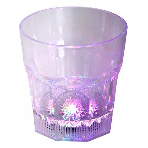 LED-Highlights Glas Becher Cocktailglas 250 ml LED Farbwechsel bunt Rgb mit Batterie wechselbar Bar Kunststoff Trinkglas Innen Aussen