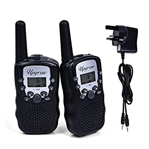 Upgrow 2pcs RT-388 Kids Walkie Talkies Children Walky Talky 0.5W 8 Channels PMR446MHz Rechargeable 2 Way Radio for Children 2-3 Km Range, UK Charger, Built-in LED Torch VOX LCD Display (1 Pair, black) ( 8 x AAA battery and UK charger included )