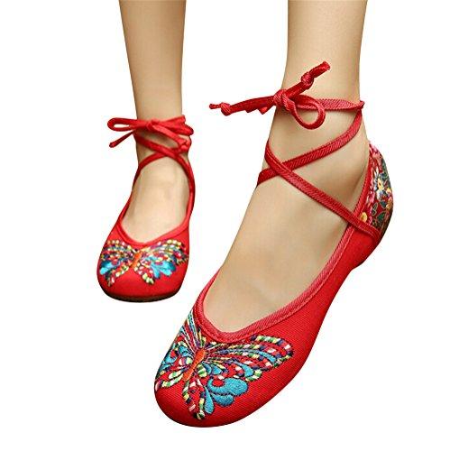 SMITHROAD Damen/Mädchen Mary Jane Halbschuhe mit Stickmuster mit Bindeband Low Top Sandalen Schwarz Rot Grün Gr.34-41 Schmetterling Muster-Rot