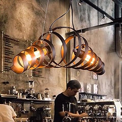 Requin Ping Rétro Nostalgique Vintage Kron Lampe spirale Lampe suspension Suspension lampeleuchte Fer Lampe applique murale Industrie Lampe Lumière du jour Lampe Ampoule à économie d'énergie. [Classe énergétique A +