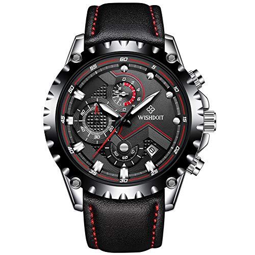 WISHDOIT Herren Uhren Fashion Sport Wasserdicht Militäruhr Männer Multifunktions Chronograph Quarz Schwarz Armbanduhren Kalender mit Leder Armband