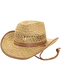 Childs[Boys or Girls] Cowboy Straw Hat with Shapeable Brim, Brown Trim and Band.