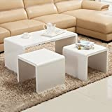 UEnjoy 1+2 Set of 3 Nest Tables, White High Gloss Wood Coffee Tables Side End Tables Living Room Bedroom Funiture