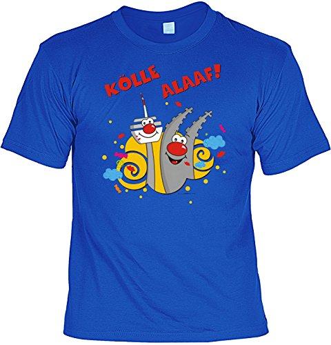 Fasching T-Shirt Karneval Kölle Alaaf Fastnacht Shirt 4 Heroes geil bedruckt Geschenk Set mit Mini Flaschenshirt Royalblau