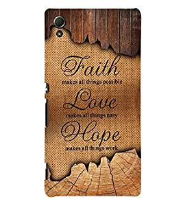 Faith Love Hope 3D Hard Polycarbonate Designer Back Case Cover for Sony Xperia Z3+ :: Sony Xperia Z3 Plus