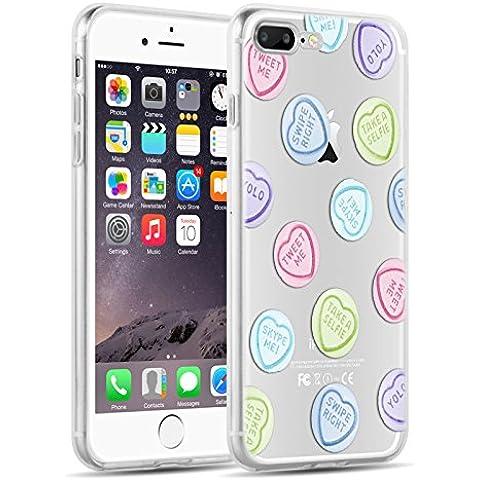 Cover iPhone 7 Plus, JAMMYLIZARD Custodia in Silicone Trasparente con Sketch per iPhone 7 Plus, CUORI PASTELLO - Cuore Coperto