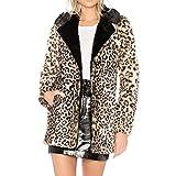 Plüsch Mantel Damen,Damen Plüschjacke Leopard-Druck-Warmer Winter-Pelz-Oberbekleidung-Mantel-Sweatshirt,❤️Binggong Damen Mantel
