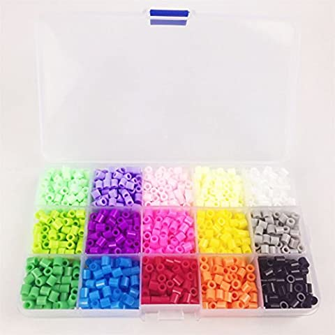 Juguetes para bebés de bolas de bricolaje Perler 12000 PC Box Set de 5 mm Perlas de fusibles Hama Beads (plantilla + 5 Papel Hierro + 2 pinzas) Puzzle de bricolaje Juguetes para bebés