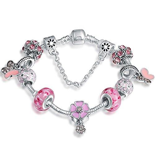 A TE® Bracciale Charms Rosa Beads Vetro Cristalli Smalto Ragazza #JW-B151