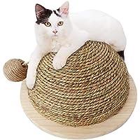 Beatie Paja semicircular con Forma de Bola de Garra, Juguete de Gato Divertido Piso de Madera,Juguete Divertido del Gato Que Sube Juguete del Gato,Junta de arañazo de Gato con Bola Colgando